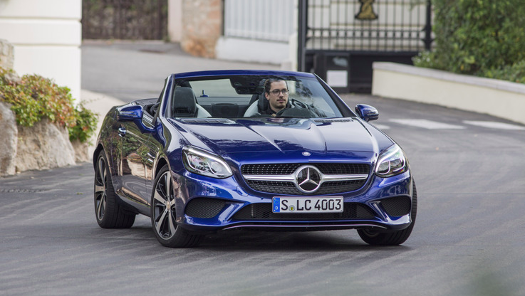 <p>The base Mercedes SLC300 roadster falls in just below the $50,000 line, and for that, you get a 241-horsepower turbo inline-four connected to a nine-speed automatic transmission along with a power-folding color-matching hardtop. </p>