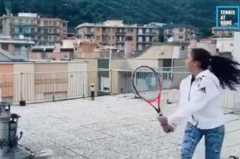 Italian girls take to rooftop tennis amid lockdown