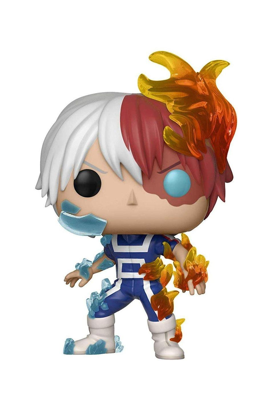 """<p><strong>Funko</strong></p><p>amazon.com</p><p><strong>$19.94</strong></p><p><a href=""""https://www.amazon.com/dp/B07D7SMLG9?tag=syn-yahoo-20&ascsubtag=%5Bartid%7C10063.g.34741247%5Bsrc%7Cyahoo-us"""" rel=""""nofollow noopener"""" target=""""_blank"""" data-ylk=""""slk:SHOP IT"""" class=""""link rapid-noclick-resp"""">SHOP IT</a></p><p>Gift the anime watcher in your life this <em>My Hero Academia </em>POP! figurine of Todoroki. True anime nerds will be well-versed in this series and will proudly display it on their bookshelf or coffee table.</p>"""