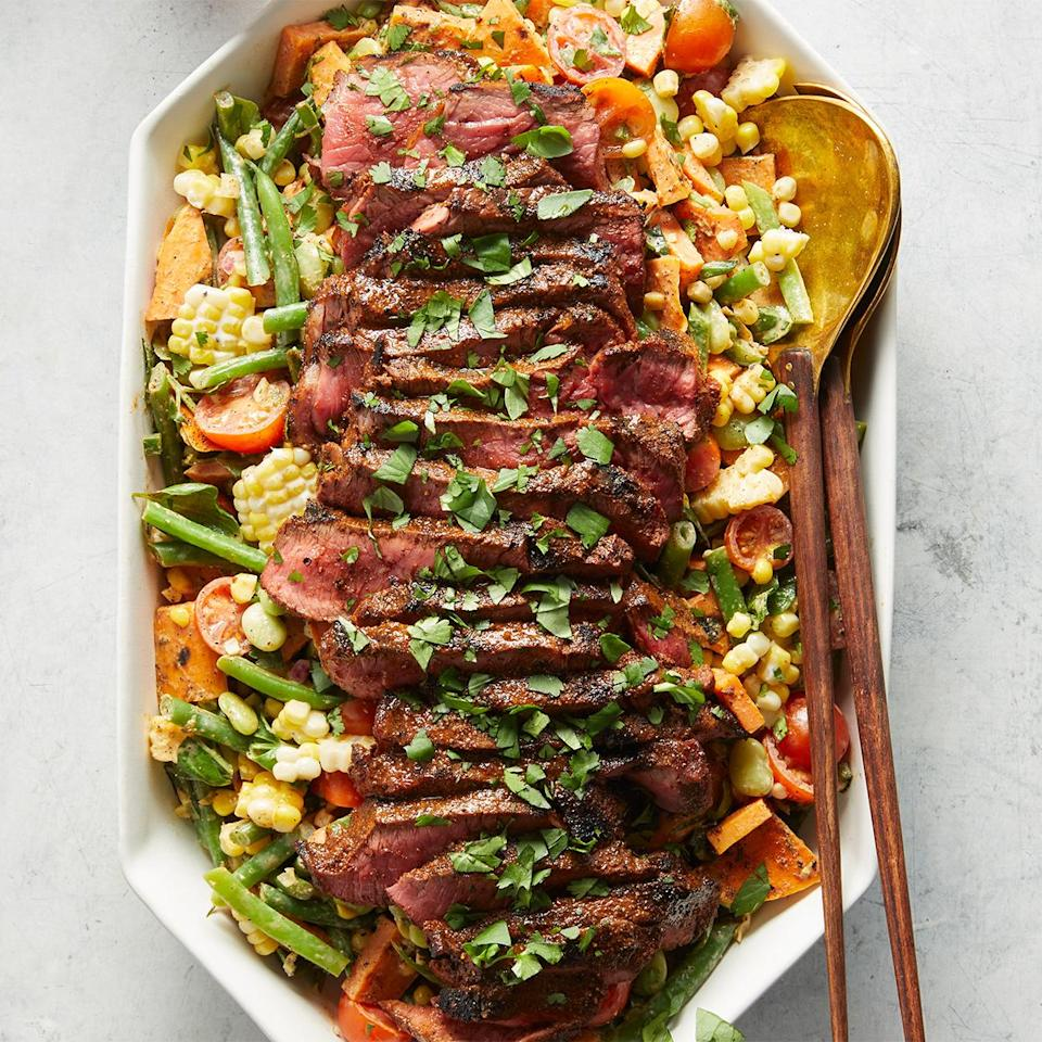 <p>A summer salad through and through! Grilled sweet potatoes and grilled sirloin steak add just enough smokiness without overpowering all of the fresh flavors, while a creamy lime dressing brings everything together.</p>