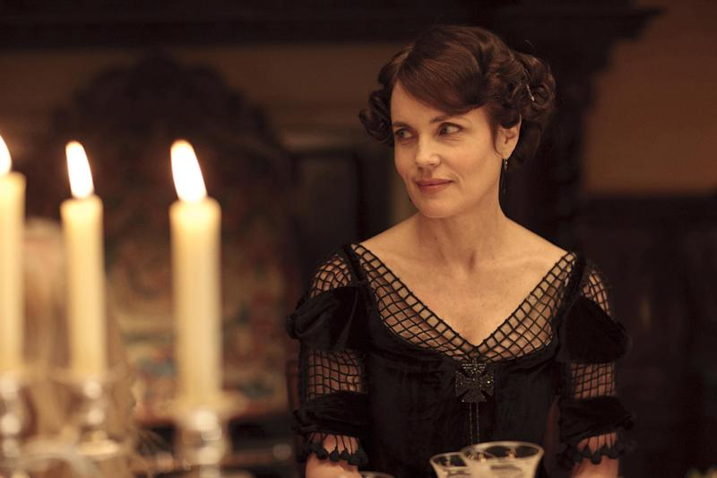 "In this image released by PBS, Elizabeth McGovern as Lady Cora is shown in a scene from the second season of ""Downton Abbey."" The series received an Emmy nomination on Thursday, July 19, 2012 for costume design. The 64th annual Primetime Emmy Awards will be presented Sept. 23 at the Nokia Theatre in Los Angeles, hosted by Jimmy Kimmel and airing live on ABC. (AP Photo/PBS, Carnival Film & Television Limited 2011 for MASTERPIECE, Nick Briggs)"
