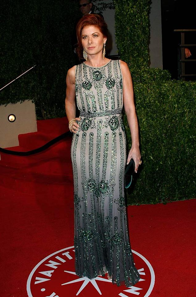 """Debra Messing's emerald-embellished Jenny Packham piece showed off the 40-year-old's toned arms and gorgeous head of red. Michael Buckner/<a href=""""http://www.gettyimages.com/"""" target=""""new"""">GettyImages.com</a> - February 22, 2009"""