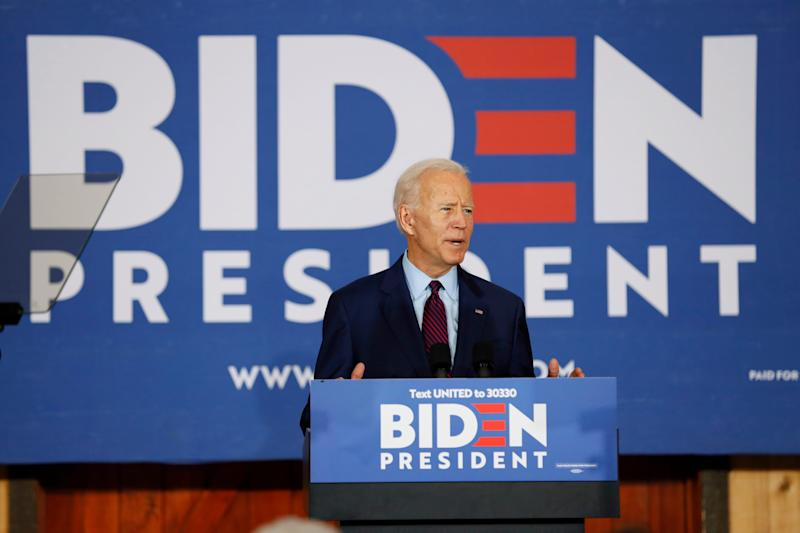 Democratic presidential candidate former Vice President Joe Biden speaks to local residents during a community event, Wednesday, Aug. 7, 2019, in Burlington, Iowa.