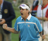 FILE - Europe's Ian Poulter reacts after his putt on the 18th hole during a four-ball match at the Ryder Cup golf tournament at the Valhalla Golf Club, in Louisville, Ky., in this Saturday, Sept. 20, 2008, file photo. (AP Photo/Chris O'Meara, File)