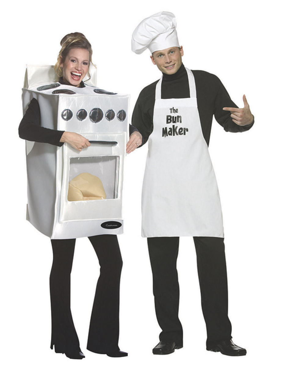 woman dressed in oven halloween costume and man in baker uniform Bun in the Oven Couples Costumes
