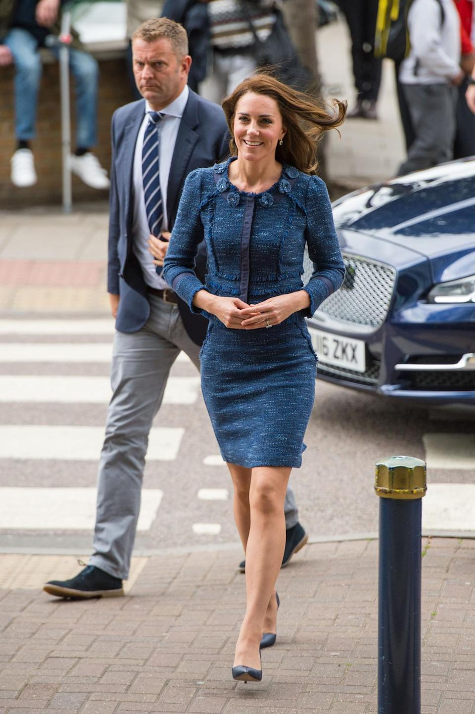 <p>The Duchess visited the survivors of the tragic London terror attack in hospital. She went for an understated workwear look to speak to both the victims and hospital staff, choosing a blue tweed skirt suit by Rebecca Taylor. Studded navy heels by Manolo Blahnik finished off the smart ensemble.</p><p><i>[Photo: PA]</i> </p>