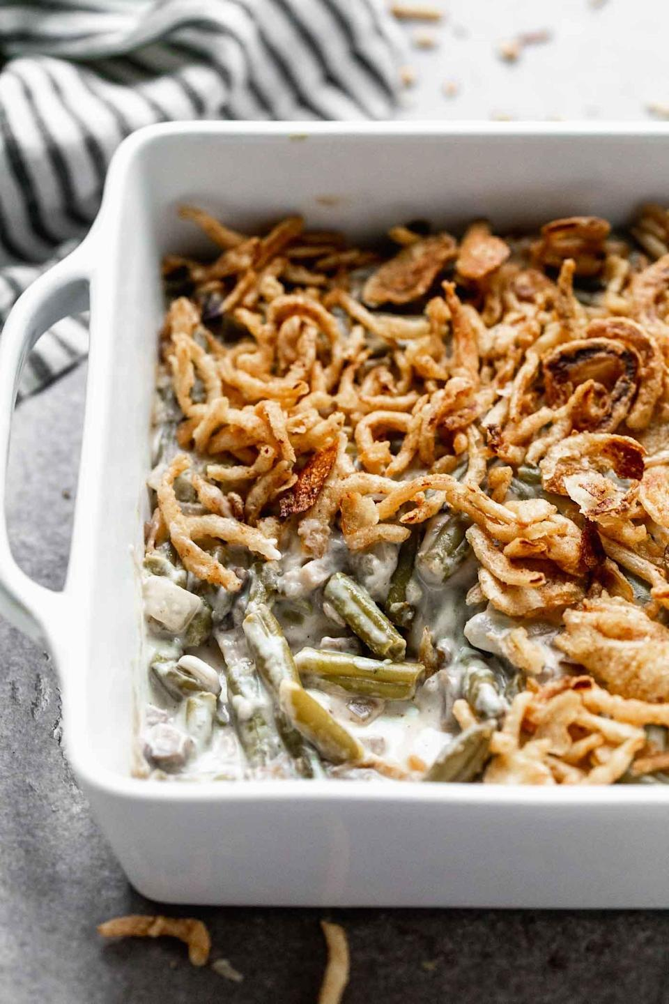 """<p>Your friends will all want this recipe - and they'll love how easy it is.</p> <p><b>Get the recipe:</b> <a href=""""http://www.cookingforkeeps.com/green-bean-casserole/"""" class=""""link rapid-noclick-resp"""" rel=""""nofollow noopener"""" target=""""_blank"""" data-ylk=""""slk:simple green bean casserole"""">simple green bean casserole</a></p>"""