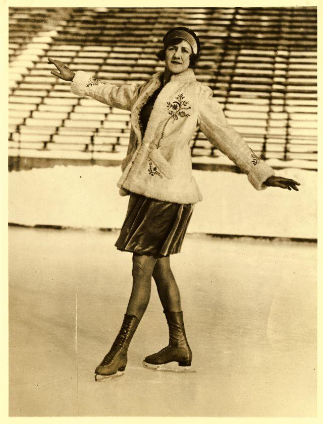 (Original Caption) Miss Constance Wilson, woman figure skating champion of canada and the United States, photographed while training here for the world championship meeting at New York February 3-5. (Photo by George Rinhart/Corbis via Getty Images)