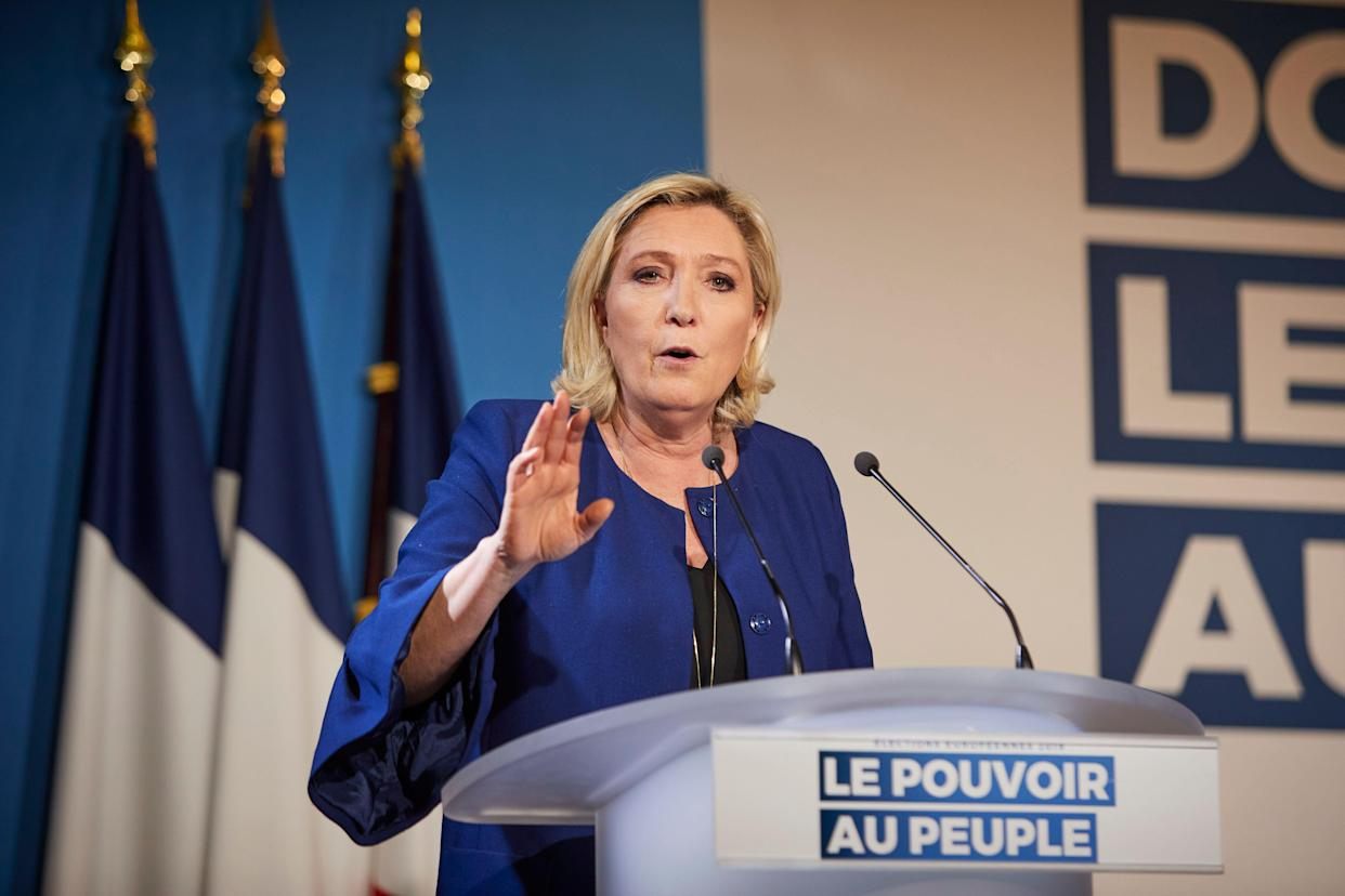 Marine Le Pen, president of the National Rally party (formerly the National Front), addresses a rally ahead of the European elections, May 21. (Photo: Kiran Ridley/Getty Images)