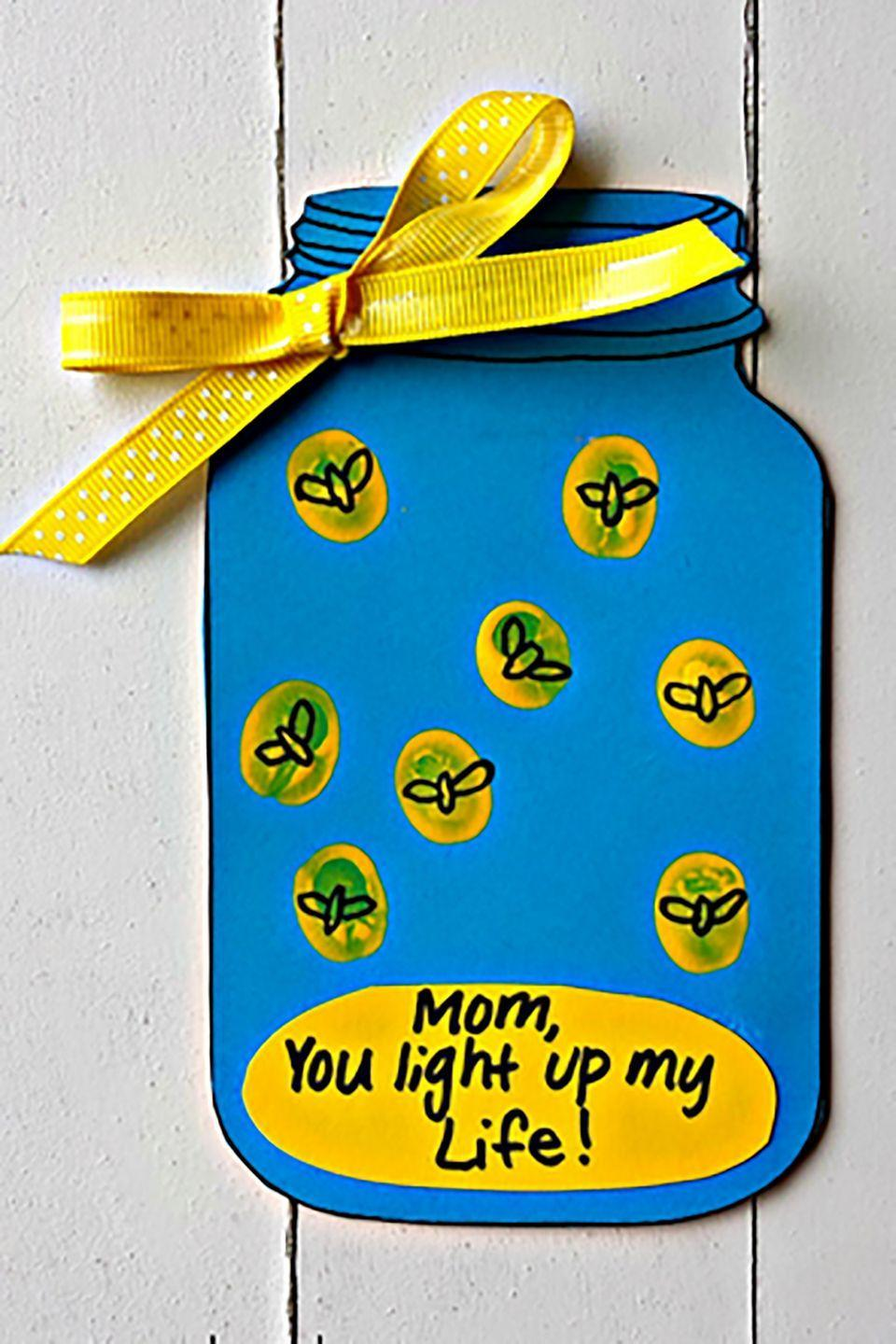 "<p>Mom will adore this handmade Mason jar card, and the kids will love drawing all the little lightning bugs on their fingerprints.</p><p><strong>Get the tutorial at <a href=""http://www.craftymorning.com/firefly-light-life-mothers-day-card-free-printable/"" rel=""nofollow noopener"" target=""_blank"" data-ylk=""slk:Crafty Morning"" class=""link rapid-noclick-resp"">Crafty Morning</a>. </strong></p>"