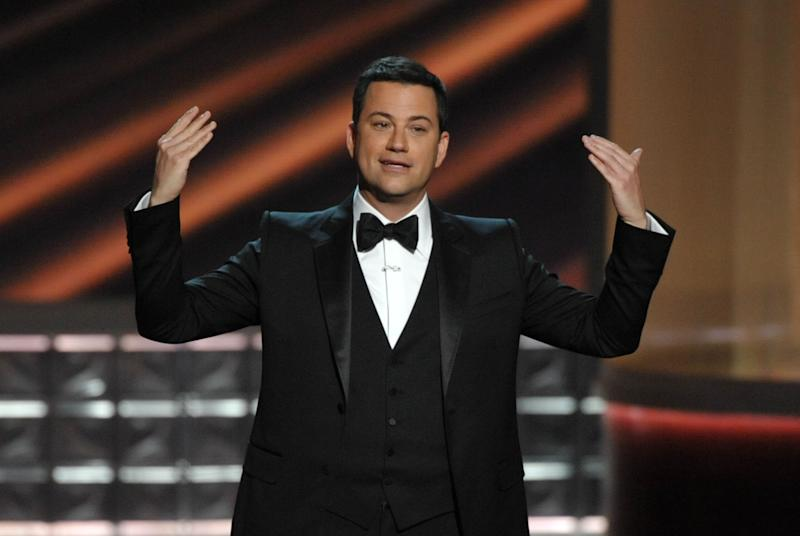 Host Jimmy Kimmel speaks onstage at the 64th Primetime Emmy Awards at the Nokia Theatre on Sunday, Sept. 23, 2012, in Los Angeles. (Photo by John Shearer/Invision/AP)