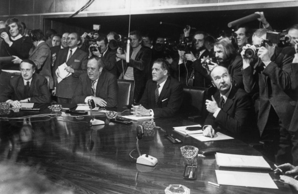 FILE - In this Jan. 6, 1973 file photo, from left, France's Jean Francois Deniau; Britain's Christopher Soames; Wilhelm Haferkamp of West Germany; and Patrick Hillery of Ireland at the first working session of the newly enlarged Common Market at the European Economic Commission headquarters in Brussels, Belgium. Eleven months after Britain's formal departure from the EU, Brexit becomes a fact of daily life on Friday, Jan. 1, 2021. Brexit marks the end of an awkward relationship. Britain joined the then-European Economic Community in 1973, but never fully embraced the bloc's project of ever-closer integration. (AP Photo, file)