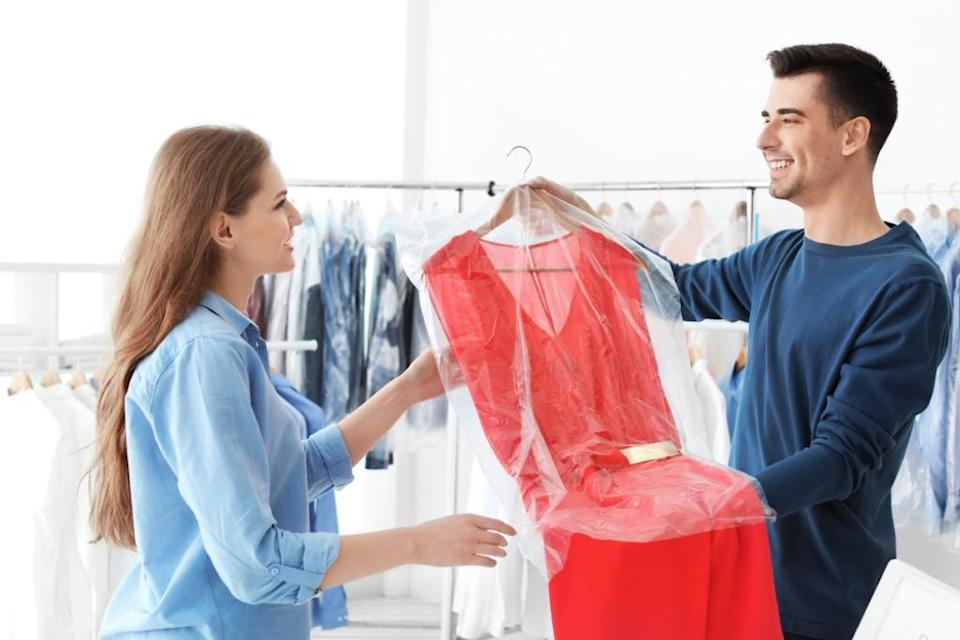 "Your dry-cleaned garments are <a href=""https://bestlifeonline.com/dry-cleaner-secrets/?utm_source=yahoo-news&utm_medium=feed&utm_campaign=yahoo-feed"" rel=""nofollow noopener"" target=""_blank"" data-ylk=""slk:thrown into a giant front-loading washers"" class=""link rapid-noclick-resp"">thrown into a giant front-loading washers</a> with a liquid detergent. Yes, your clothes are completely immersed with a liquid solvent; it's only called ""dry"" because there's no water in it. Dry cleaning was originally discovered by <a href=""https://home.howstuffworks.com/dry-cleaning1.htm"" rel=""nofollow noopener"" target=""_blank"" data-ylk=""slk:Jean Baptiste Jolly"" class=""link rapid-noclick-resp""><strong>Jean Baptiste Jolly</strong></a> in 1855 when his maid accidentally spilled petroleum from a kerosene lamp all over his table cloth—only to find out that it removed stains he couldn't previously get out! Because petroleum is harmful to the environment with the amount of dry cleaning the world does, new solvents have been created over time."