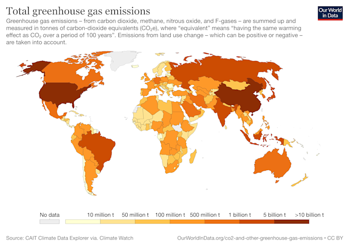 Global greenhouse gas emissions by country (Source: CAIT Climate Data Explorer/Our World in Data)
