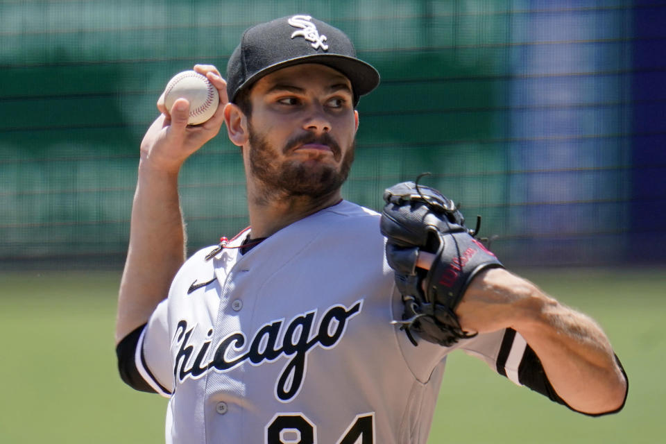Chicago White Sox starting pitcher Dylan Cease delivers during the second inning of a baseball game against the Pittsburgh Pirates in Pittsburgh, Wednesday, June 23, 2021. (AP Photo/Gene J. Puskar)