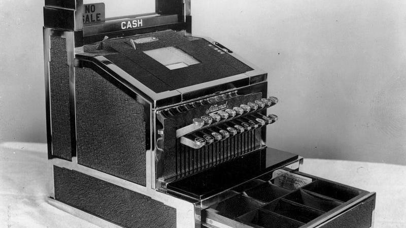 Black and white photo of old-fashioned cash register