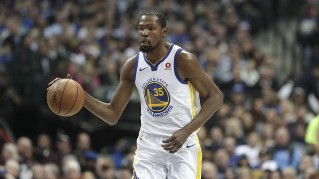 "<a class=""link rapid-noclick-resp"" href=""/nba/teams/gsw/"" data-ylk=""slk:Golden State Warriors"">Golden State Warriors</a> forward <a class=""link rapid-noclick-resp"" href=""/nba/players/4244/"" data-ylk=""slk:Kevin Durant"">Kevin Durant</a> has his sights set beyond 20,000 points and on buying an NBA franchise one day. (AP Photo/LM Otero)"