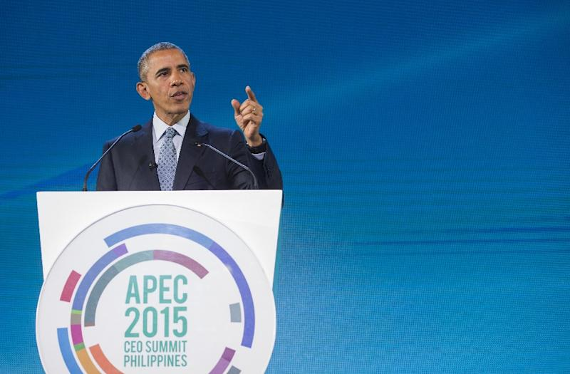 US President Barack Obama speaks at the Asia-Pacific Economic Cooperation (APEC) CEO summit in Manila on November 18, 2015