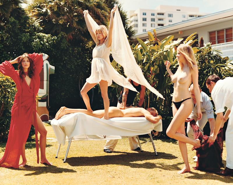 "Daria Werbowy, Kate Moss and Lara Stone in ""Summer Camp."""