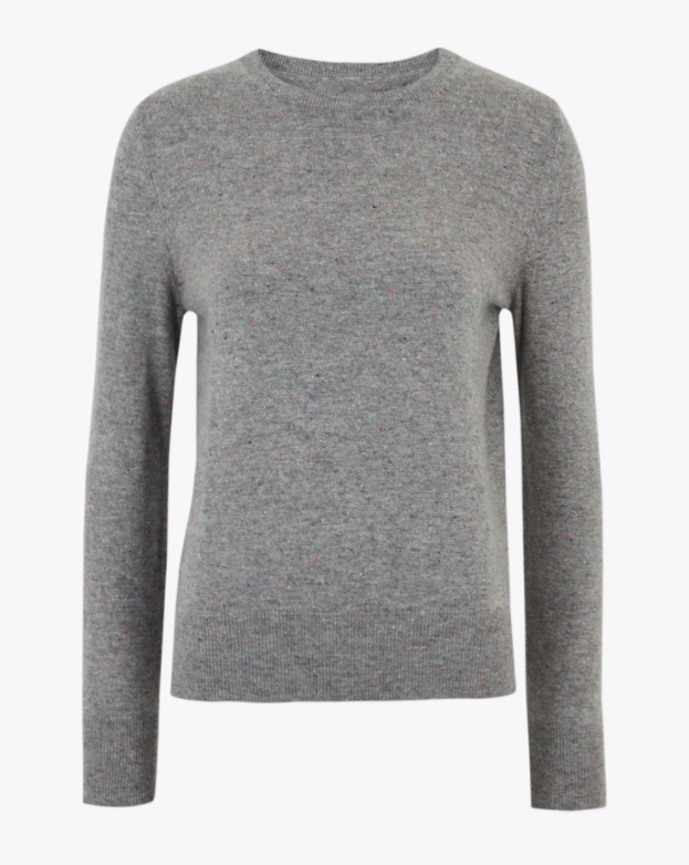 "<br><br><strong>Marks & Spencer</strong> Pure Cashmere Textured Jumper, $, available at <a href=""https://www.marksandspencer.com/pure-cashmere-round-neck-jumper/p/clp60264476?image=SD_01_T38_3552_T4_X_EC_90&color=GREYMIX&prevPage=srp#intid=prodColourId-60458942"" rel=""nofollow noopener"" target=""_blank"" data-ylk=""slk:Marks & Spencer"" class=""link rapid-noclick-resp"">Marks & Spencer</a>"