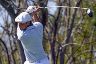Bryson DeChambeau hits a shot from the third tee during the final round of the Arnold Palmer Invitational golf tournament Sunday, March 7, 2021, in Orlando, Fla. (AP Photo/John Raoux)