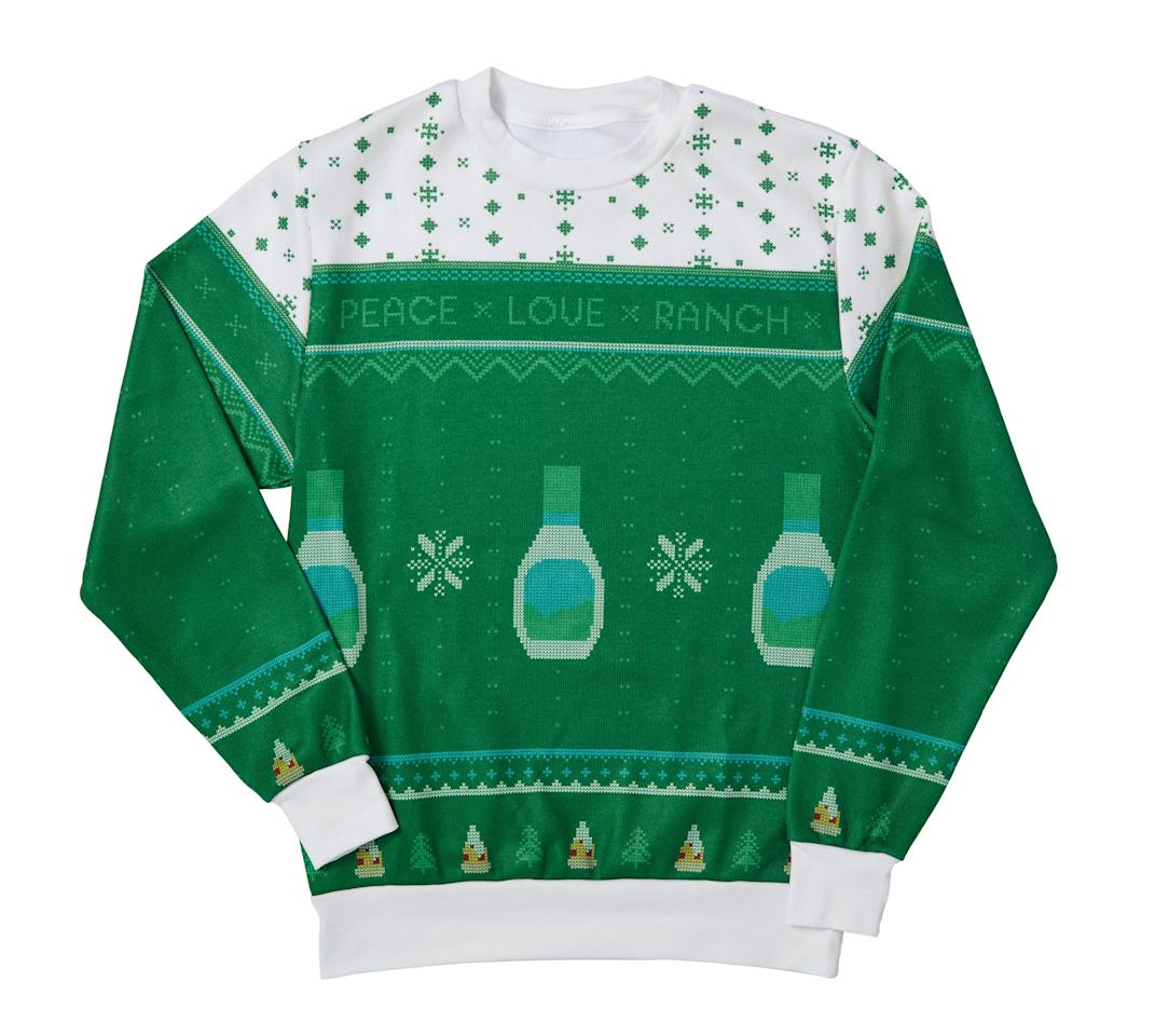 <p>We'll take this $50 ranch-bottle-patterned sweater over those basic reindeer- or elf-themed ones any day!</p>