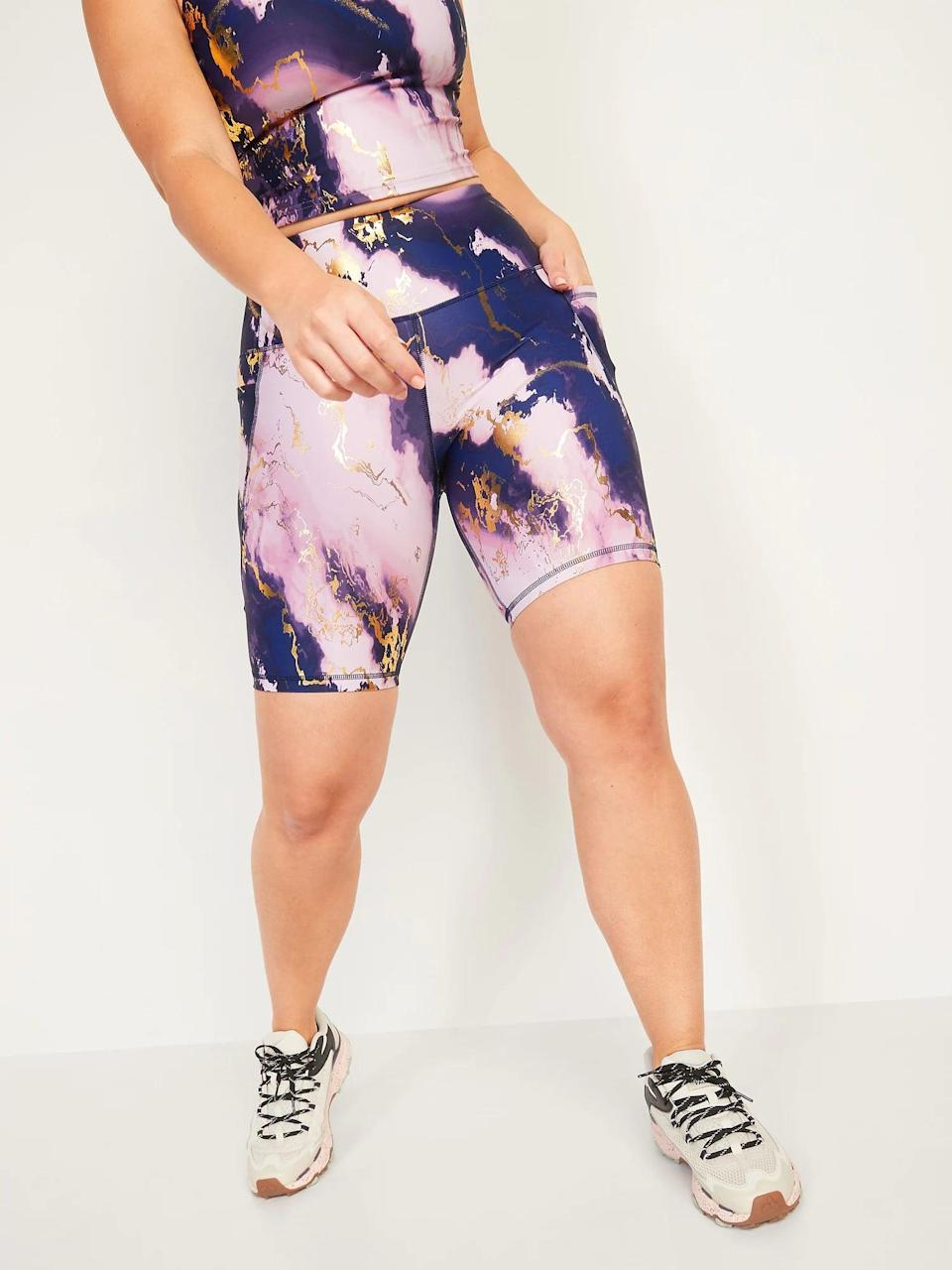 <p>Yep, the <span>Old Navy High-Waisted PowerSoft Side-Pocket Biker Shorts</span> ($27) come in a rich purple color as well! This color is beautiful.</p>