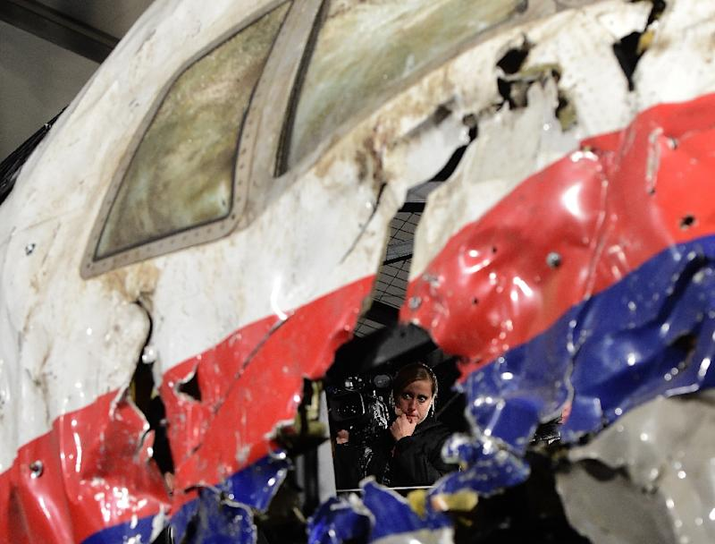 The wrecked cockpit of the Malaysia Airlines flight MH17 was reconstructed at the Gilze Rijen airbase in the Netherlands