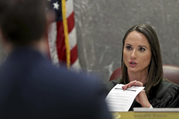Judge Elizabeth Scherer looks at prosecutor Justin Griffis during a hearing in the case of school shooting suspect Nikolas Cruz at the Broward Courthouse in Fort Lauderdale on Tuesday, May 28, 2019. Cruz, who faces the death penalty if convicted, is accused of killing 17 and wounding 17 in the February 2018 mass shooting at Marjory Stoneman Douglas High School in Parkland, Fla. (Amy Beth Bennett/South Florida Sun Sentinel via AP, Pool)