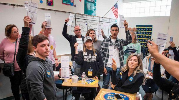PHOTO: A volunteer counts votes during the Nevada caucuses to nominate a Democratic presidential candidate at the caucus polling station inside the Coronado High School in Las Vegas, Nevada, on February 22, 2020. (Mark Ralston/AFP via Getty Images)