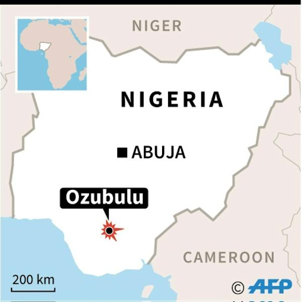 Map of Nigeria locating an armed attack on a church in Ozubulu