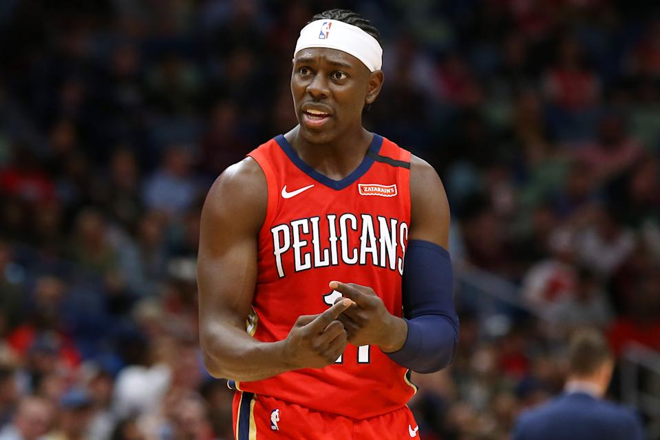 Jrue Holiday #11 of the New Orleans Pelicans reacts against the Minnesota Timberwolves during the second half at the Smoothie King Center on March 03, 2020.
