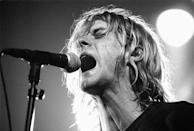<p>Kurt Cobain and his Nirvana bandmates were inducted into the Rock and Roll Hall of Fame in 2014.</p>