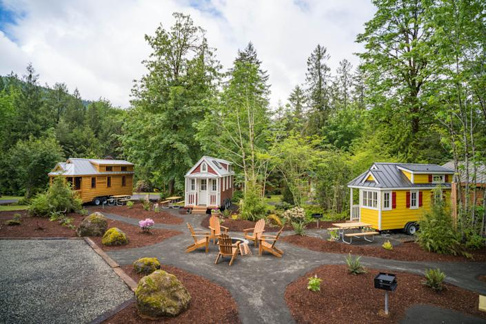 Experience the artistry and culinary vibes of Portland while surrounded by the nature of the Pacific Northwest at Mt. Hood Tiny House Village.