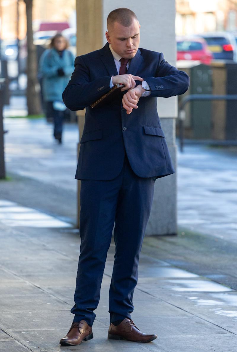 """Aaron Evans arrives at Westminster Magistrates Court in London. London, February 17 2020. See National News story NNsquaddie. An off-duty soldier drunkenly hurled condiments at customers and tried to headbutt a police officer in a McDonald's restaurant. Aaron Evans, 28, was arrested at the Whitehall branch of the fast food chain in Westminster, central London, on January 31, as crowds gathered to attend a rally marking Britain's departure from the EU. Evans, who is based at Camberley Barracks in Surrey, admitted that he """"had too many beers"""" as he pleaded guilty to a charge of drunk and disorderly behaviour when he appeared at Westminster Magistrate's Court. He was landed with a hefty fine, after it emerged that he had been charged with the same offence by Cheshire Police just a week earlier."""