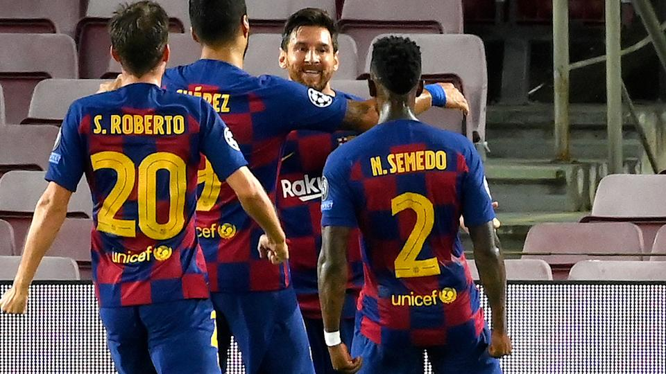 Lionel Messi, pictured here celebrating with Barcelona teammates after his goal against Napoli.