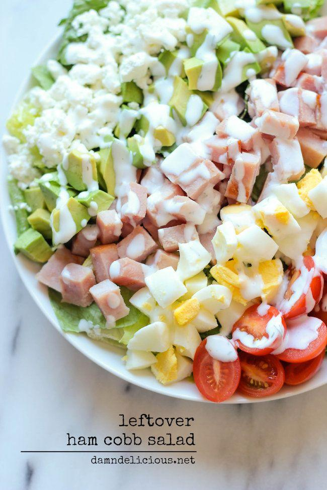 "<strong>Get the <a href=""https://damndelicious.net/2013/11/28/ham-cobb-salad/"" target=""_blank"">Leftover Ham Cobb Salad</a> recipe from Damn Delicious.</strong>"