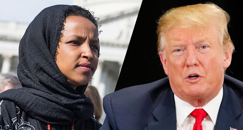 Rep. Ilhan Omar and President Trump. (Photos: Tom Williams/CQ Roll Call via Getty Images, Adam Bettcher/Getty Images)