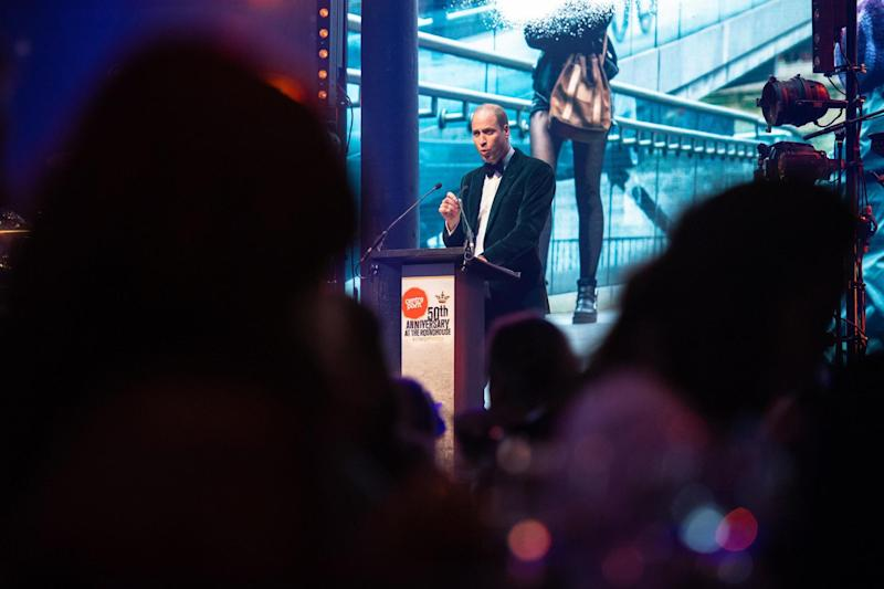 The Duke of Cambridge delivers a speech at a gala to mark the 50th anniversary of Centrepoint, (PA)