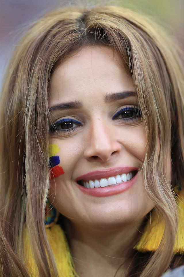 <p>A fan of Colombia smiles prior to the 2018 FIFA World Cup Russia Round of 16 match between Colombia and England at Spartak Stadium on July 3, 2018 in Moscow, Russia. (Photo by Amin Mohammad Jamali/Getty Images) </p>