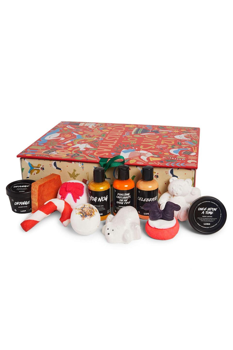 """<p>lushusa.com</p><p><strong>$99.95</strong></p><p><a href=""""https://www.lushusa.com/gifts/christmas-gifts/12-days-of-christmas/9999960406.html"""" rel=""""nofollow noopener"""" target=""""_blank"""" data-ylk=""""slk:Shop Now"""" class=""""link rapid-noclick-resp"""">Shop Now</a></p>"""