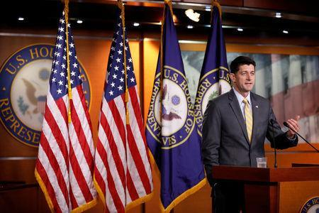 FILE PHOTO: Speaker of the House Paul Ryan speaks with reporters during his weekly news conference on Capitol Hill in Washington, U.S., June 21, 2018. REUTERS/Aaron P. Bernstein