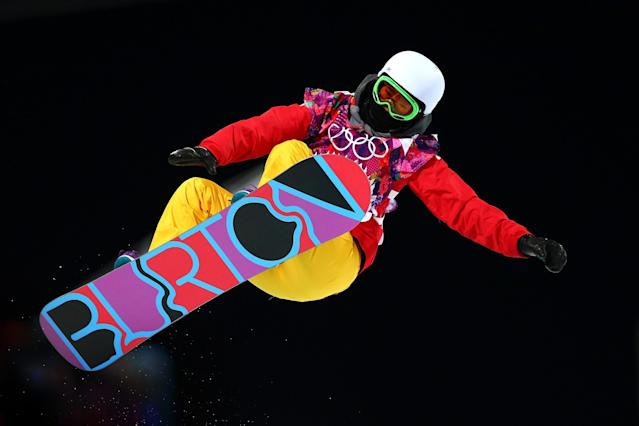 SOCHI, RUSSIA - FEBRUARY 12: Li Shuang of China competes in the Snowboard Women's Halfpipe Finals on day five of the Sochi 2014 Winter Olympics at Rosa Khutor Extreme Park on February 12, 2014 in Sochi, Russia. (Photo by Cameron Spencer/Getty Images)