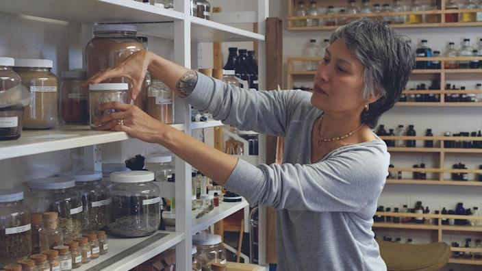 """Los Angeles perfumer Persephenie Lea is developing an antiviral soap, hand sanitizer and smelling salts, due out on Sunday. <span class=""""copyright"""">(Persephenie Lea)</span>"""