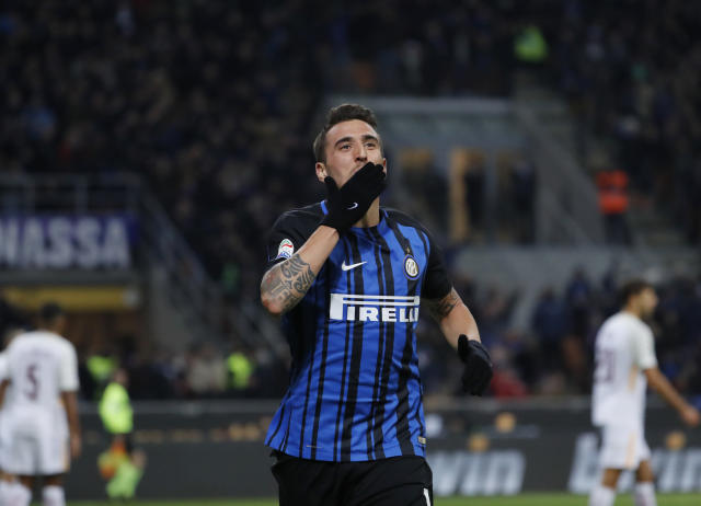 "<a class=""link rapid-noclick-resp"" href=""/soccer/players/matias-vecino/"" data-ylk=""slk:Matias Vecino"">Matias Vecino</a>'s goal late in the second half finished off an impressive stretch that might have saved Inter <a class=""link rapid-noclick-resp"" href=""/soccer/teams/milan/"" data-ylk=""slk:Milan"">Milan</a>. (AP)"