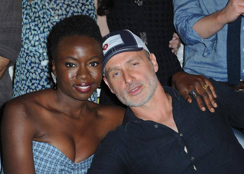 Danai Gurira and Andrew Lincoln hugging it out at SDCC. (Albert L. Ortega via Getty Images)