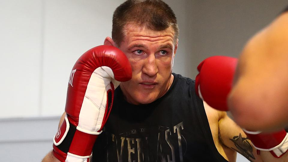 Paul Gallen has questioned Justis Huni's priorities ahead of their June bout. (Photo by Chris Hyde/Getty Images)