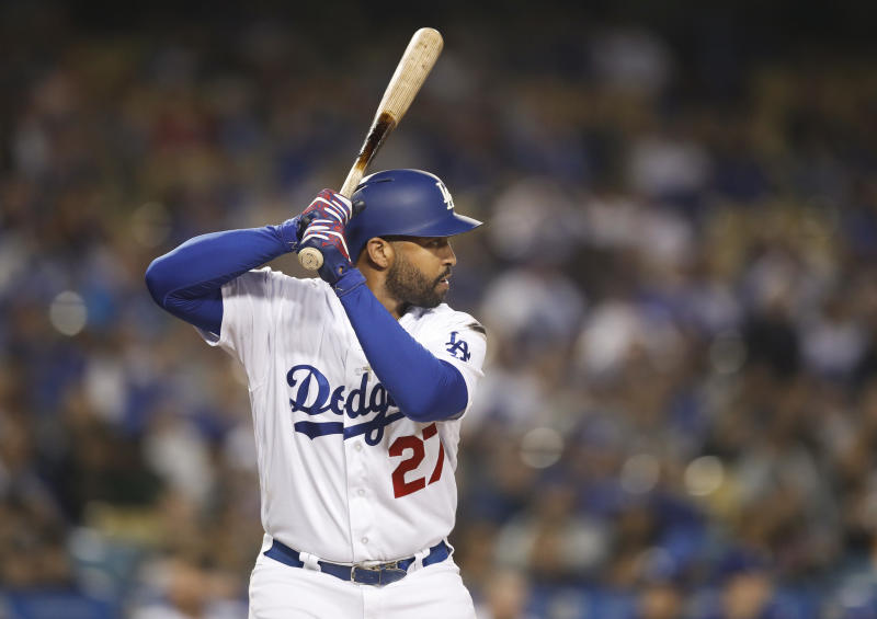 FILE - In this May 29, 2018, file photo, Los Angeles Dodgers' Matt Kemp stands in the batter's box during the fourth inning of the team's baseball game against the Philadelphia Phillies, Tuesday, May 29, 2018, in Los Angeles. A person familiar with the deal says veteran outfielder Kemp and the New York Mets have agreed to a minor league contract. The person spoke on condition of anonymity because the deal was pending a physical and had not been announced. (AP Photo/Jae C. Hong, File)