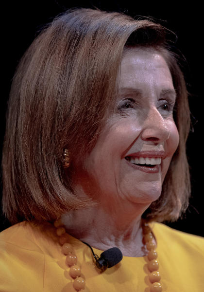 Speaker of the House Nancy Pelosi, D-Calif., laughs during an interview at The Texas Tribune Festival on Saturday, Sept. 28, 2019, in Austin, Texas. (Nick Wagner/Austin American-Statesman via AP)