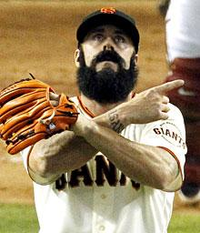 The Giants' Brian Wilson recorded the save for the National League